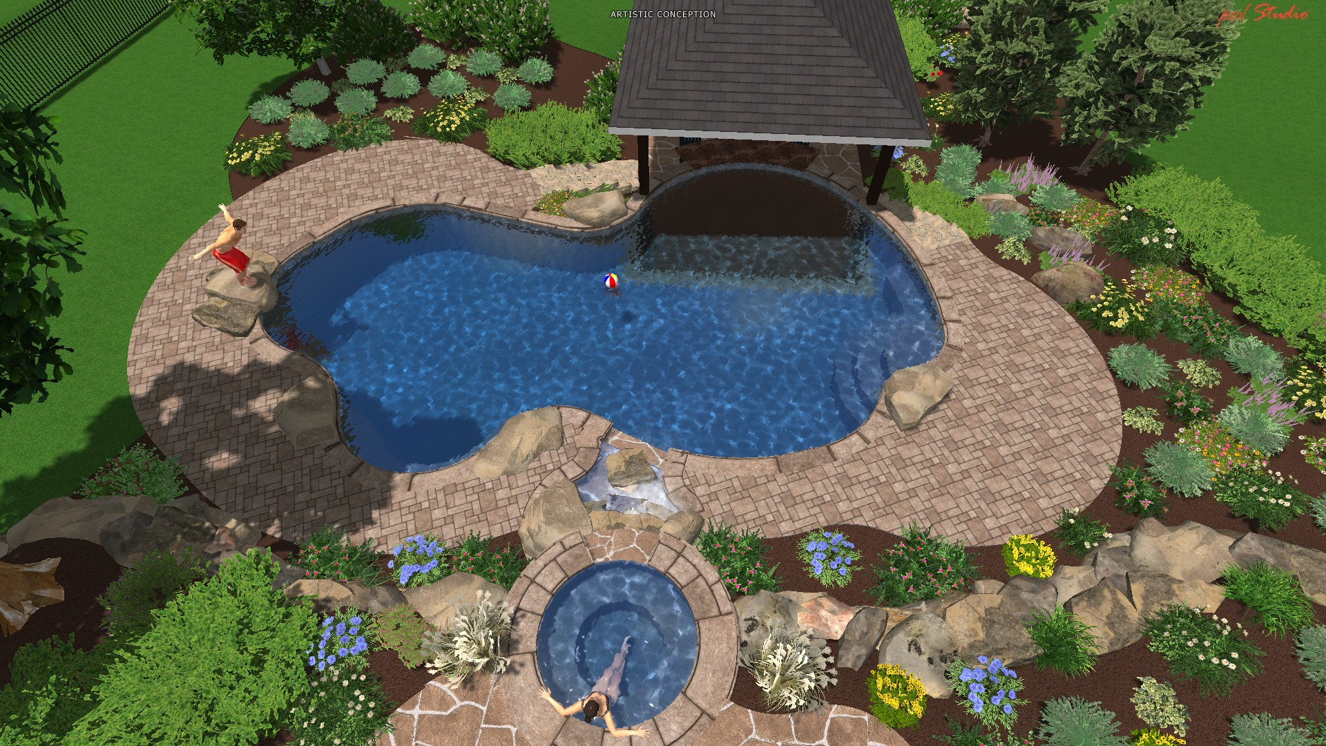 Landscaping Ideas For Inground Swimming Pools natural design of the inground landscaping ideas that used wooden deck decorating ideas that can add the beauty inside the inground landscaping ideas it In Ground Pool Design Ideas Small Pools For Small Yards Swiming Pool Design Home Design Ideas
